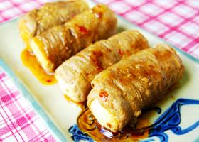島豆腐の豚肉巻き