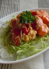 お魚ソーセージとトマトの簡単丼