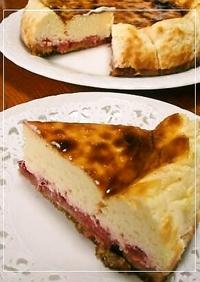 たっぷりいちごの♡ベイクドチーズケーキ
