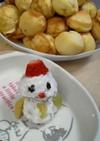 たこ焼き器でホットケーキ雪だるま