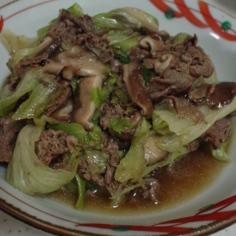 レタスと牛肉の炒め煮