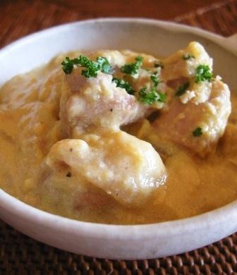 チキンとさつま芋のコーンクリーム煮