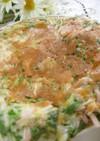 おさかなソーセージと水菜のチヂミ風