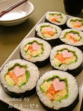 ハートが可愛い!魚ニソの彩りサラダ巻き♡