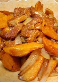 安納芋と豚角煮炒め~♪