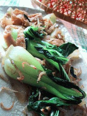 油揚げと青梗菜のじゃこ炒め。