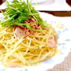水菜とツナのベーコンパスタ