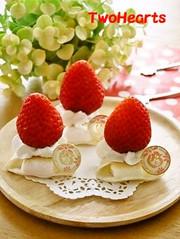 餃子の皮de苺❤マシュマロの大福風の写真