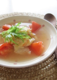 鱈とトマトの焼きキムチスープ