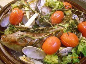 ほうぼう(白身魚)タジン鍋アクアパッツア