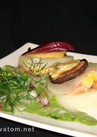 鮭と大根のイタリアンパセリのフォンテ添え