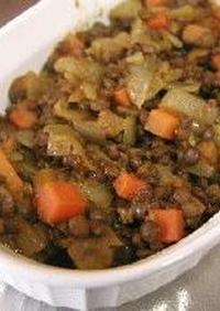 レンズ豆のドライカレー