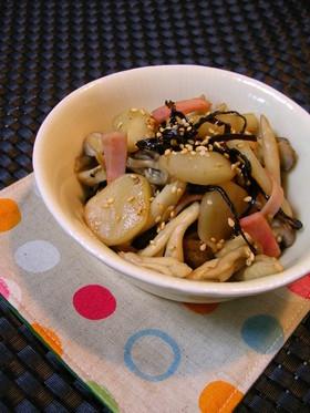 菊芋とキノコの塩こんぶ炒め