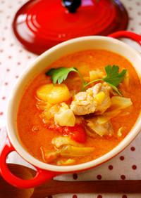 ご飯にあう!チキンのトマトミルクスープ