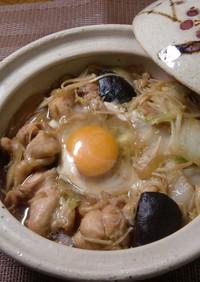 鶏肉と野菜のすき煮 巣ごもり卵風