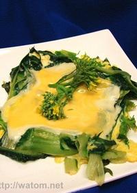 カタローニャとモッツァレラと卵の蒸し焼き