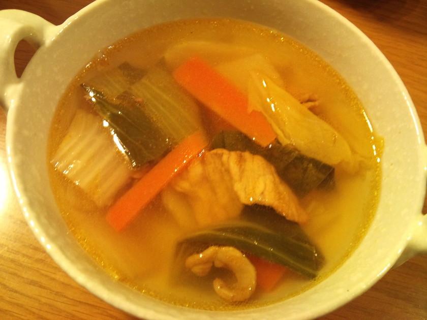 残った野菜炒めで簡単スープ!
