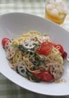 レンコンとトマトのスパゲティ