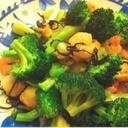 海老と帆立とブロッコリーの塩昆布炒め