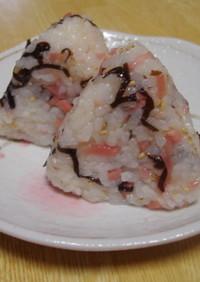 紅生姜と塩昆布のおにぎり
