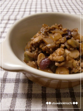 鶏挽き肉と豆のケチャップ&ワイン煮