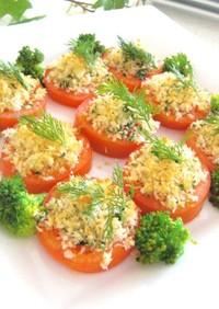 焼きトマトのニンニクとハーブの前菜