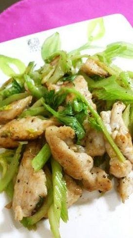 鶏ムネとセロリの塩炒め