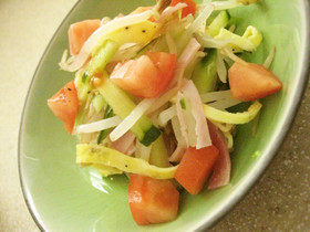 モヤシとトマトとキュウリのサラダ