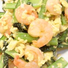 彩り鮮やか♪小松菜とエビの卵炒め