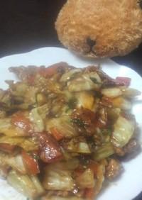 豚肉とキャベツのみそマヨ炒め。
