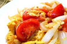 新たまねぎとトマトの卵炒め