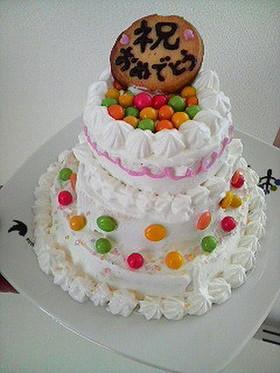 市販のケーキで*簡単デコケーキ