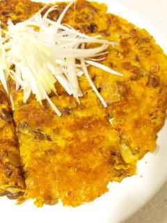 天ぷら粉でサックリ☆納豆キムチーズチヂミ