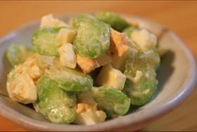 そら豆とゆで卵の辛子味噌サラダ