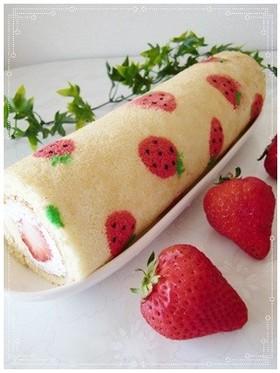 *いちご模様のロールケーキ*