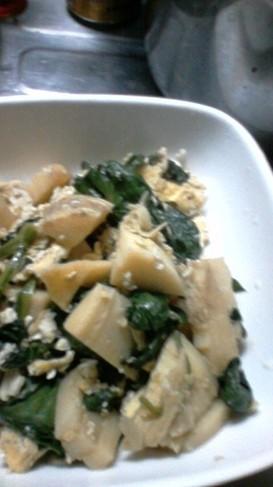 筍とほうれん草の炒り卵オイスター炒め