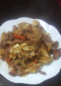 焼肉のたれで野菜炒め。