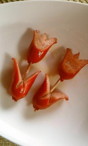 ウインナー飾り切りチューリップ キャラ弁