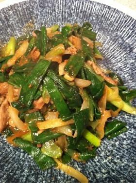 葉玉ねぎの味噌炒め