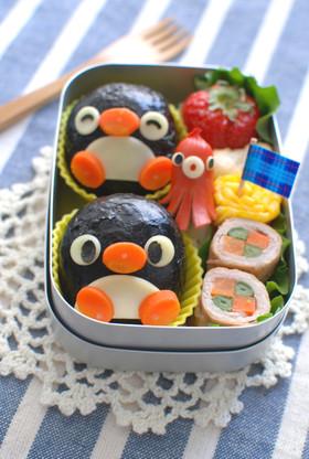 丸いおにぎりdeペンギン弁当