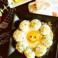 ふりかけご飯で目玉焼き~このまま朝食!!