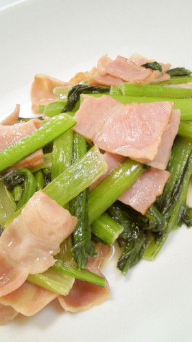 小松菜とベーコンのバター炒め