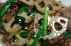 牛肉とレンコンの中華炒め