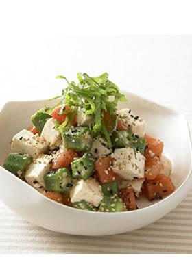 オクラと豆腐のコロコロサラダ