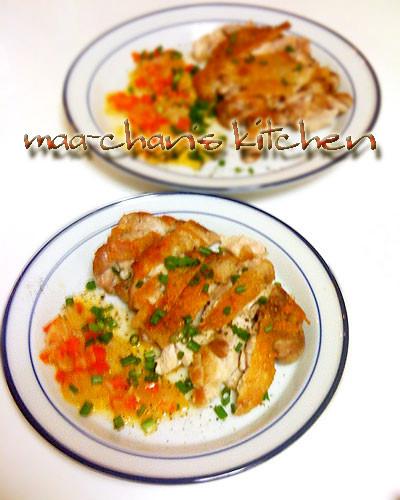 皮パリ♪チキン♥レモンバターの野菜ソース