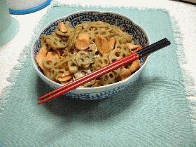 蓮根と魚肉ソーセージのカレー味炒め