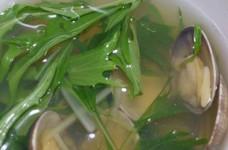 あさりと水菜のコンソメスープ♪