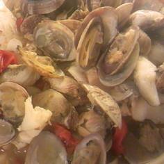 鱈とアサリとトマトの和風アクアパッツァ