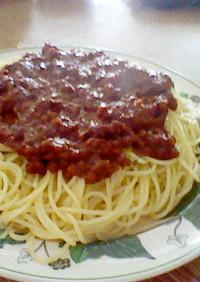 残り物で、ミートソーススパゲッティ!