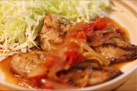 鯵のトマト生姜焼き